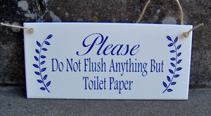Bathroom Sign Please Do Not Flush Anything Toilet Paper Wood Vinyl Sign Restroom Powder Room Business Sign Office Decor Bathroom Wall Decor