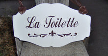 Load image into Gallery viewer, La Toilette Fleur De Lis Wood Sign Vinyl French Country Decor Bathroom Restroom Powder Room Wash Room Door Sign Dressing Table Home Decor - Heartfelt Giver