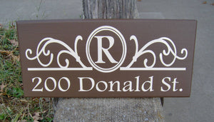 Monogram Initial Last Name House Number Plaque Street Address Sign For Yard Wood Vinyl Sign Brown Porch Sign Family Wall Decor Wall Hangings