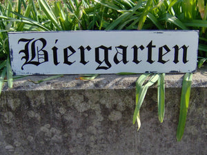 Biergarten Distressed Sign Wood Vinyl Bar Decor Sign Rustic Wood Sign Wall Hanging Wall Decor Farmhouse Family Gathering Friends Sign German