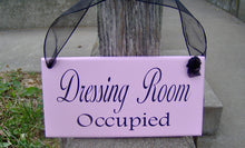 Load image into Gallery viewer, Dressing Room Vacant Occupied Wood Sign Vinyl 2 Sided Sign Business Office Decor Office Supply Sign Door Hanger Pink Boutique Salon Spa Sign