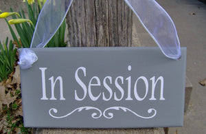 In Session Wood Vinyl Business Sign Office Supply Sign Do Not Disturb Therapy Treatment Massage Beauty Salon Door Sign Wall Hanging Gray