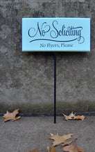 Load image into Gallery viewer, No Soliciting Sign No Flyers Please Wood Vinyl Yard Stake Sign Porch Sign Home Decor Sign Garden Sign Yard Sign Do Not Disturb Wooden Sign - Heartfelt Giver