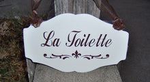 Load image into Gallery viewer, La Toilette Fleur De Lis Wood Sign Vinyl French Country Decor Bathroom Restroom Powder Room Wash Room Door Sign Dressing Table Home Decor
