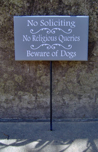 No Soliciting No Religious Queries Beware Of Dogs Wood Vinyl Stake Sign Outdoor Sign Yard Sign Security Pet Supplies Family Porch Sign Patio - Heartfelt Giver