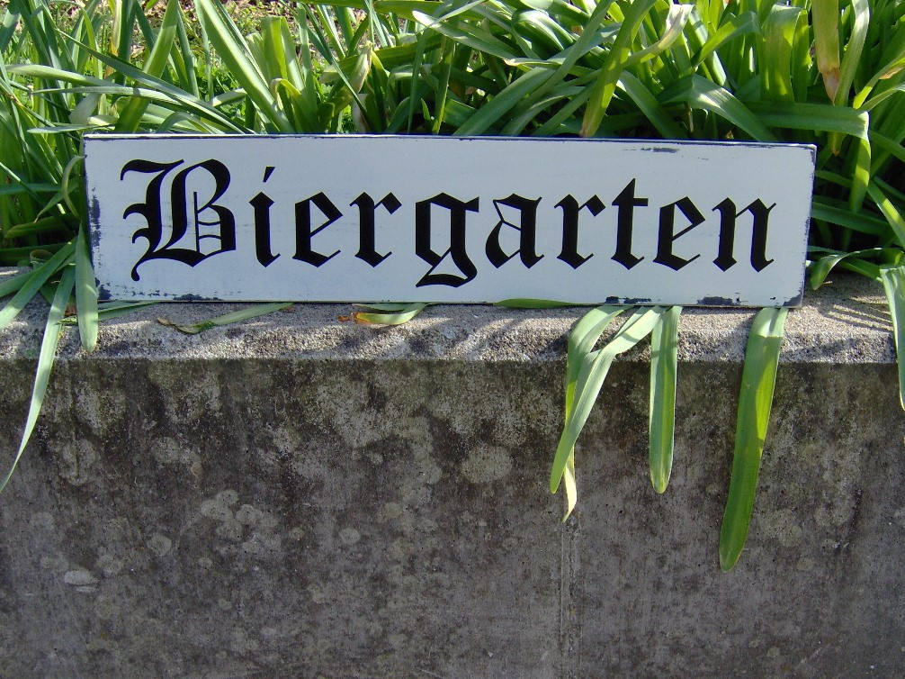 Biergarten Distressed Sign Wood Vinyl Bar Decor Sign Rustic Wood Sign Wall Hanging Wall Decor Farmhouse Family Gathering Friends Sign German - Heartfelt Giver