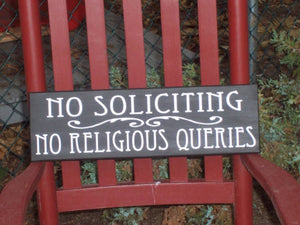 No Soliciting No Religious Queries Wood Sign Vinyl Outdoor Entryway Porch Exterior Signs For Home Yard Decor Private Signs Plaque Message