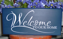 Load image into Gallery viewer, Welcome To Our Home Wood Vinyl Sign Front Door Hanger Porch Sign Family Sign Lake Sign Beach Sign Navy Blue Door Decor House Sign Custom
