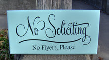 Load image into Gallery viewer, No Soliciting Sign No Flyers Please Wood Vinyl Sign Outdoor Garden Yard Porch Home Decor Sign Do Not Disturb New Home Gift Housewarming Gift