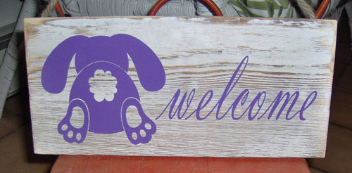 Welcome Bunny Butt Wood Vinyl Spring Sign Decor - Heartfelt Giver