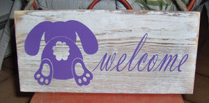 Welcome Wood Vinyl Sign Purple Easter Spring Bunny Rabbit Front Door Decor Farmhouse Distressed Rustic Home Decor Design Porch Signs Custom