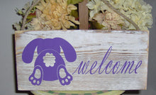 Load image into Gallery viewer, Welcome Wood Vinyl Sign Purple Easter Spring Bunny Rabbit Front Door Decor Farmhouse Distressed Rustic Home Decor Design Porch Signs Custom