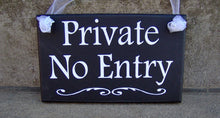 Load image into Gallery viewer, Private No Entry Wood Vinyl Sign Privacy Door Sign Door Decor Office Decor Business Sign Office Sign Entryway Entrance Back Front Door Sign