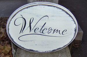 Welcome Sign Wood Vinyl Sign Farmhouse Distressed Rustic Home Decor Front Door Decor Entryway Door Sign Door Hanger Porch Sign Wreath Sign - Heartfelt Giver