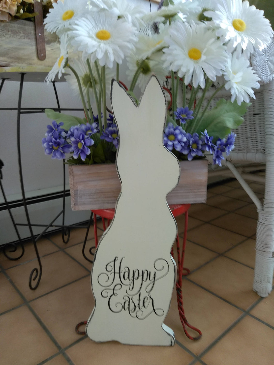 Bunny Rabbit Happy Easter Distressed Rustic Farmhouse Wood Vinyl Sign Spring Wall Hanging Door Wooden Cutout Outdoor Front Door Decor Plaque