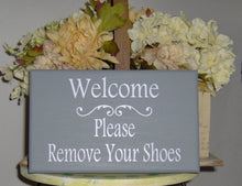 Load image into Gallery viewer, Welcome Sign Please Remove Shoes Wood Vinyl Sign Wooden Sign Housewarming Gift Family Sign Visitor Custom Take Off Shoes Front Door Decor