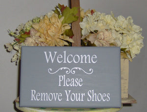 Welcome Sign Please Remove Shoes Wood Vinyl Sign Wooden Sign Housewarming Gift Family Sign Visitor Custom Take Off Shoes Front Door Decor