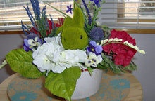 Load image into Gallery viewer, Bunny Rabbit Spring Flower Arrangement Vintage Enamel Pot Faux Moss Easter Table Centerpiece Upcycled Home Primitive Decor Embellishments