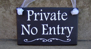 Private No Entry Wood Vinyl Sign Privacy Door Sign Door Decor Office Decor Business Sign Office Sign Entryway Entrance Back Front Door Sign