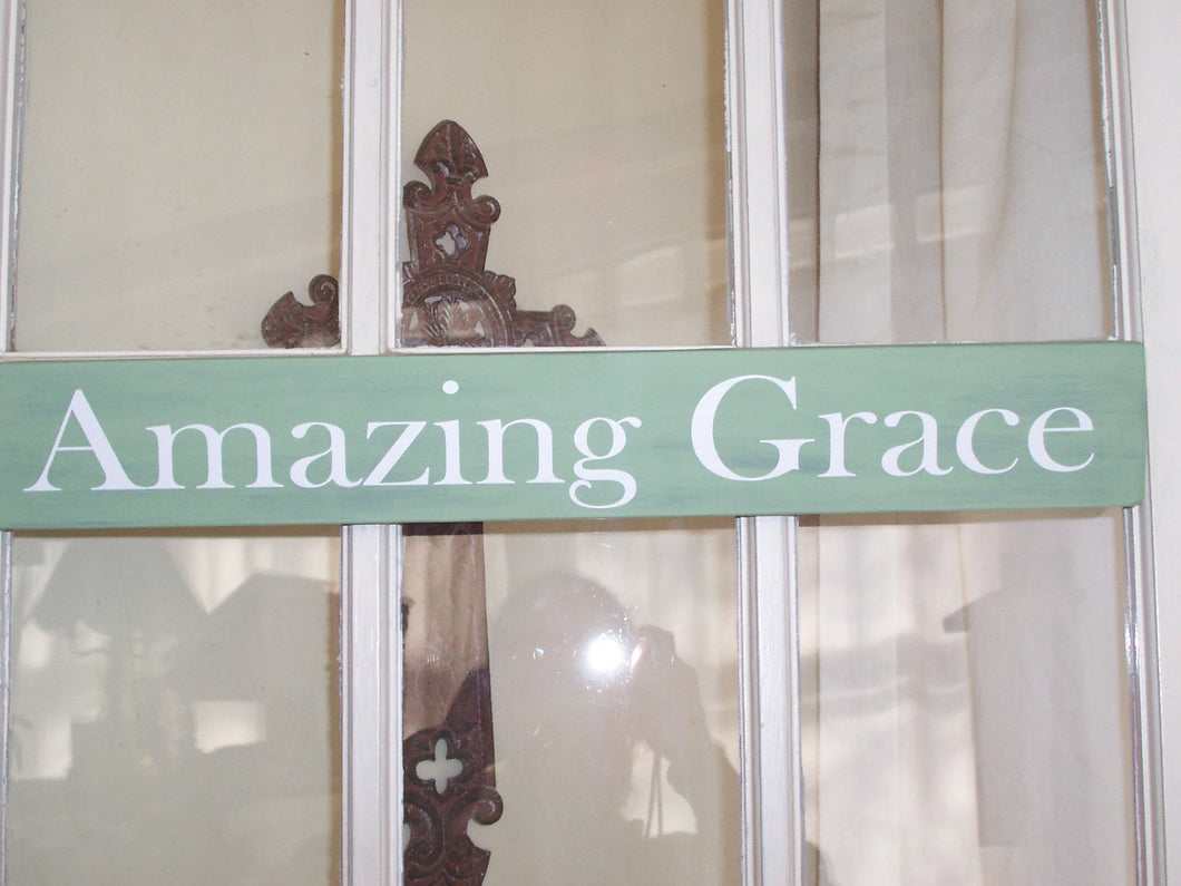 Amazing Grace Wood Sign Vinyl Wall Hanger Wall Decor Shelf Sitter Porch Sign Wooden Block Signs Gifts Table Sign Song Quotes Wall Art Words