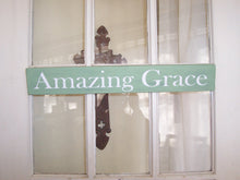 Load image into Gallery viewer, Amazing Grace Wood Sign Vinyl Wall Hanger Wall Decor Shelf Sitter Porch Sign Wooden Block Signs Gifts Table Sign Song Quotes Wall Art Words
