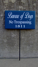 Load image into Gallery viewer, Beware Of Dogs No Trespassing House Number Wood Vinyl Stake Sign Dog Decor Address Front Porch Yard Garden Private Do Not Disturb Navy Blue - Heartfelt Giver