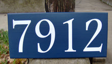 Load image into Gallery viewer, House Number Sign Wood Vinyl Sign Navy Blue Street Signs Wall Hanging Porch Sign Front Entry Decor Front Door Signs Personalized Plaque Art
