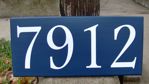 House Number Sign Wood Vinyl Sign Navy Blue Street Signs Wall Hanging Porch Sign Front Entry Decor Front Door Signs Personalized Plaque Art