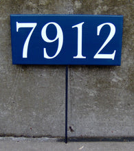 Load image into Gallery viewer, House Number Plaque House Number Sign Wood Vinyl Stake Sign Navy Blue Street Signs Address Sign Wall Porch Sign Front Door Signs Personalize