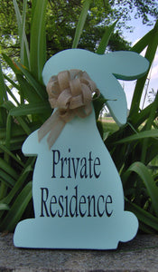 Bunny Rabbit Farmhouse Primitive Rustic Country Private Residence Wood Vinyl Sign Porch Sign Home Decor Front Door Decor Privacy Door Gift - Heartfelt Giver