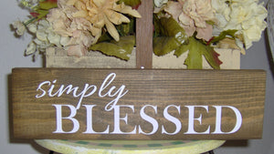 Simply Blessed Wood Block Sign Custom Wooden Vinyl Sign Farmhouse Decor Country Decor Table Wall Hanging Wreath Sign Wall Decor Family Porch