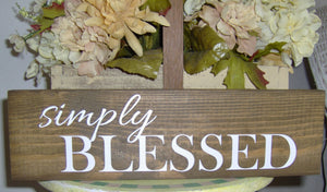 Simply Blessed Wood Block Sign Custom Wooden Vinyl Sign Farmhouse Decor Country Decor Table Wall Hanging Wreath Sign Wall Decor Family Porch - Heartfelt Giver