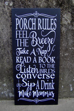Load image into Gallery viewer, Porch Rules Wood Vinyl Sign Porch Vertical Wall Decor Plaque - Heartfelt Giver