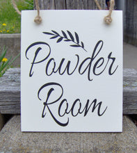 Load image into Gallery viewer, Powder Room Wood Signs Vinyl Sign Door Hanger Bathroom Door Sign Door Decor Housewarming New Home Unique Gift Bathroom Decor Home Decor Art