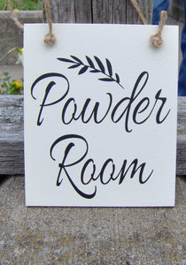 Powder Room Wood Signs Vinyl Sign Door Hanger Bathroom Door Sign Door Decor Housewarming New Home Unique Gift Bathroom Decor Home Decor Art