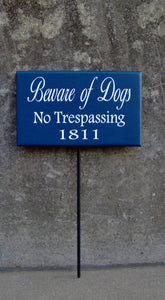 Beware Of Dogs No Trespassing House Number Wood Vinyl Stake Sign Dog Decor Address Front Porch Yard Garden Private Do Not Disturb Navy Blue