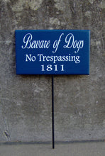 Load image into Gallery viewer, Beware Of Dogs No Trespassing House Number Wood Vinyl Stake Sign Dog Decor Address Front Porch Yard Garden Private Do Not Disturb Navy Blue