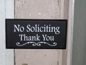 No Soliciting Thank You Wood Vinyl Sign Door Hanger Wall Hanging Everyday Porch Decor Garden Yard Sign Do Not Disturb Private Property Gift - Heartfelt Giver
