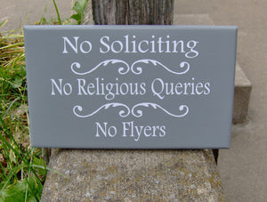 No Soliciting No Religious Queries No Flyers  Wood Sign Vinyl Sign Door Hanger Porch Wall Hanging Yard Sign Front Door Decor Do Not Disturb