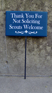 Thank You Not Soliciting Scouts Welcome Sign Wood Vinyl Stake Sign Fleur De Lis Art Lawn Sign Yard Sign Garden Decor New Home Gift Navy Blue