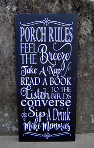 Porch Rules Wood Vinyl Sign Porch Vertical Wall Decor Plaque - Heartfelt Giver