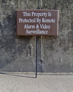 Property Protected Remote Alarm Video Surveillance Wood Vinyl Sign Stake Yard Sign Privacy Private Property Home Security Alarm Front Door - Heartfelt Giver