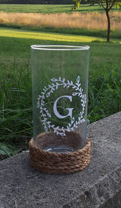 Flower Glass Vase with Last Name Initial Monogram Vinyl Table Top Decor