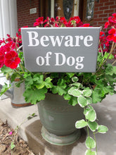 Load image into Gallery viewer, Beware of Dog Wood Vinyl Stake Sign Plaque Gray Yard Sign Porch Sign Outdoor Sign Garden Decoration Security Gray Yard Decor Dog Lover Gift