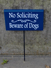 Load image into Gallery viewer, No Soliciting Beware of Dogs Wood Vinyl Stake Sign Navy Blue Outdoor Sign Pet Supplies Dog Signs Dog Lover Gift Custom Signs For Home Yard
