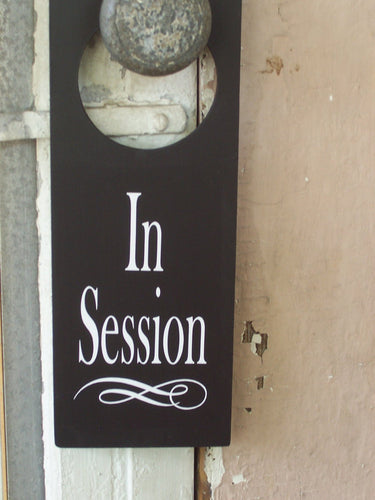 In Session Door Knob Hanger Wood Vinyl Sign Supplies for Office Businesses Decor