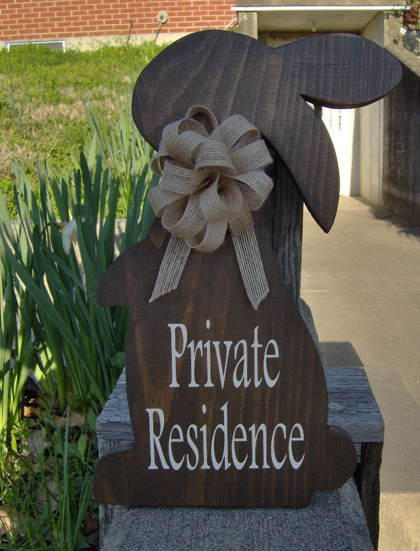 Bunny Rabbit Farmhouse Primitive Rustic Country Private Residence Wood Vinyl Sign Porch Sign Home Decor Front Door Decor Privacy Door Gift