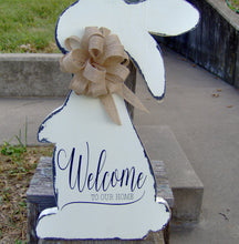 Load image into Gallery viewer, Welcome Our Home Spring Easter Bunny Rabbit Wood Farmhouse Distressed Wood Vinyl Sign - Heartfelt Giver