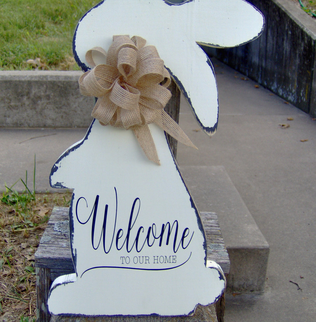 Welcome Our Home Spring Easter Bunny Rabbit Wood Farmhouse Distressed Wood Vinyl Sign - Heartfelt Giver