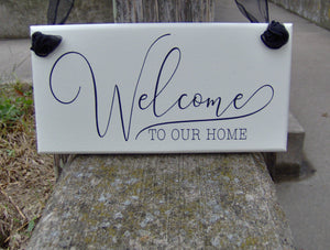 Welcome To Our Home Wood Vinyl Sign Custom Sign Outdoor Decor Welcome Wood Sign For Home Country Cottage Decor Entry Door Sign Porch Sign - Heartfelt Giver
